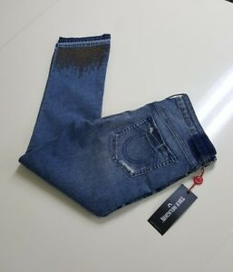 98eb45a93 True Religion Women s Cora Midrise Straight Crop Studded Jeans NWT ...