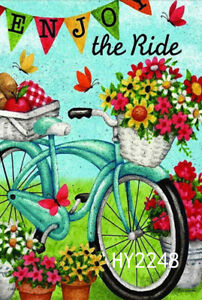 Bicycle With Flowers Fruits 12 5x18 Small Garden Flags House Yard