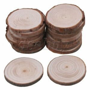 """5pcs 4.7/""""-5.5/"""" Unfinished Natural Wood Slices Circles with Tree Bark Log Discs f"""