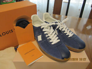 402cea97daa Details about Men LOUIS VUITTON 'Luxembourg' Blue Leather Sneakers Shoes UK  Size 8.5