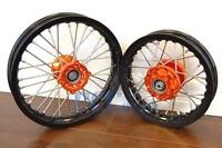 Ktm50 Sx Black Rim Cnc Hub 12/10 Wheels Set Orange 2002-2013 I Rmt09
