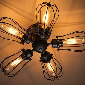 5 Lights American Country Style Industrial Flush Mounted Ceiling