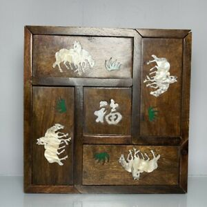 Noble Boxwood Inlay Conch horse Usable Precious big Jewelry Box Mechanism box