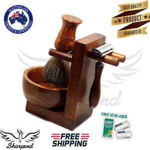 Sharpend-Men-Wood-Shaving-Set-Safety-Razor-Stand-Bowl-Synthetic-Brush