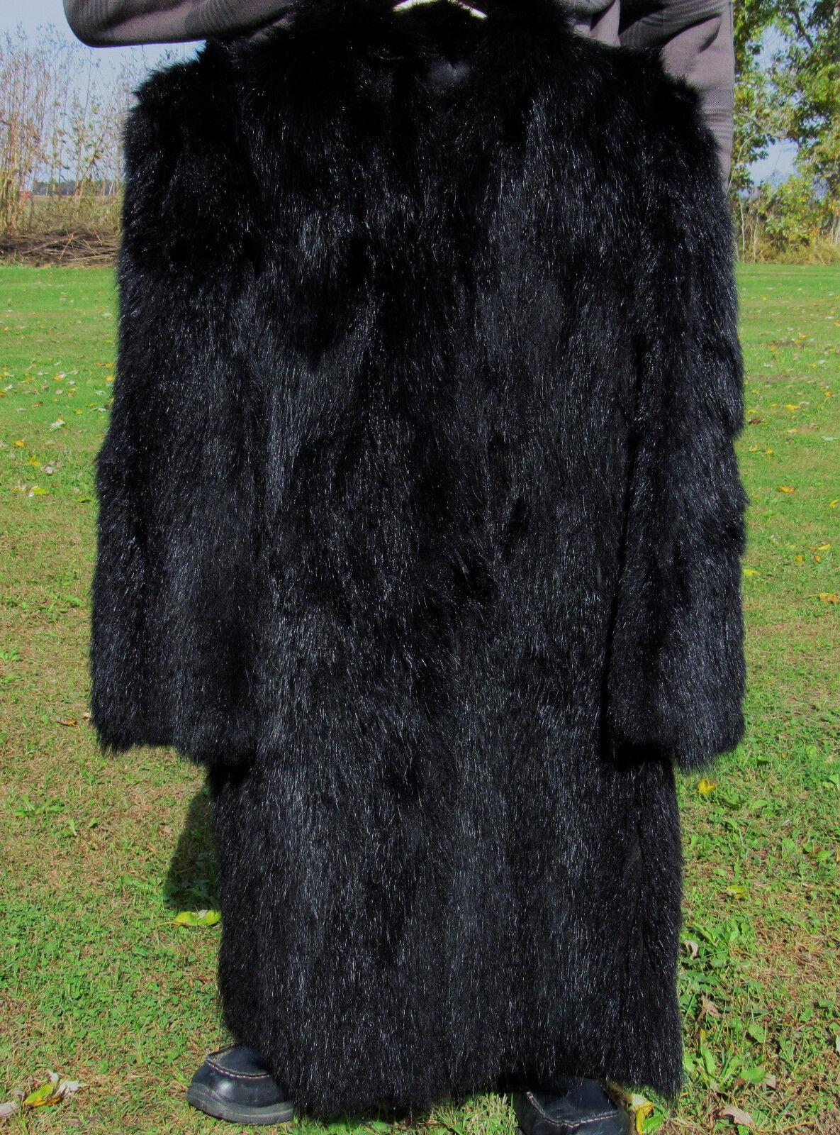 CUSTOM MADE Full 1950s BLACK RACOON FUR Stroller Coat S