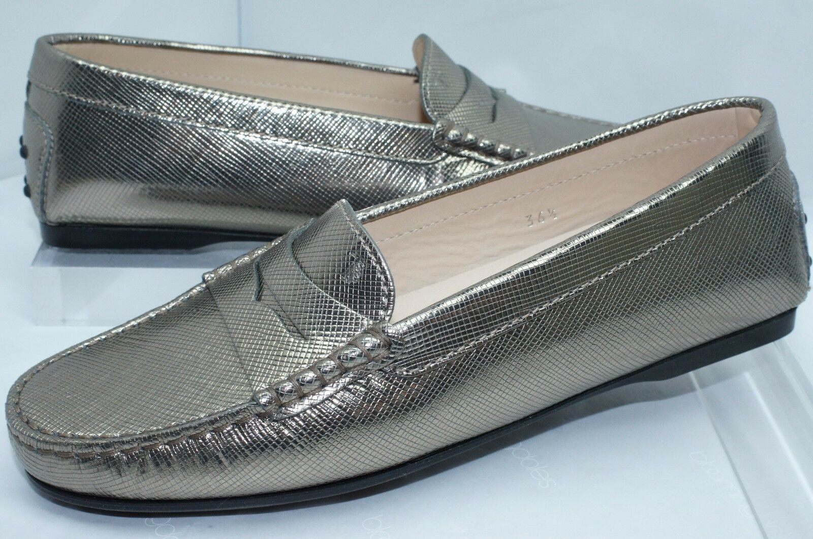 New Tod's shoes Flats Rubber Moccasin Size 36.5 Pearl Grey gold Sale Gift