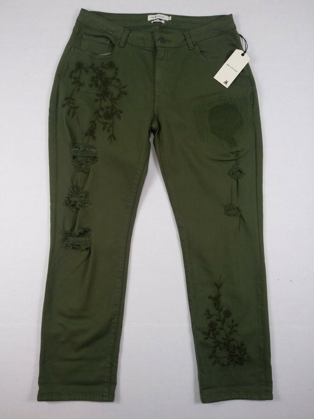 MM Vintage Embroidered Jeans Womens 30 Distressed Cropped Army Olive Green Ankle