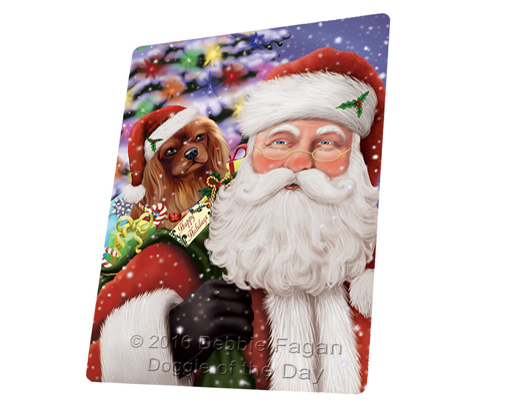 Jolly Santa Cavalier King Charles Spaniel Dog Woven Throw Sherpa Blanket T390