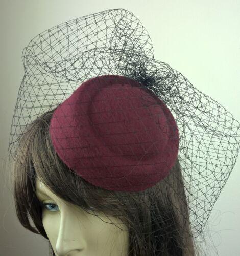 dark red felt mini pill box hat black veiling french veil fascinator wedding