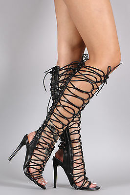 Sexy Black Strappy Tall Lace Up Knee High Gladiator High Heel Open Toe Sandals