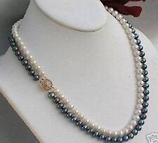 """2 Reihen 7-8mm weißen&schwarz Süßwasser Perlenkette 17-18"""""""