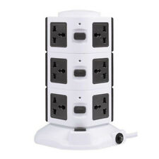 Vertical Tower 10 Way Gang + 4USB Overload Protected Extension Lead Plug - 3.0M