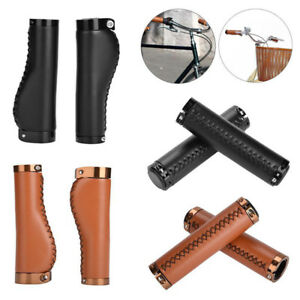 Bike-Cycle-Vintage-style-Leather-bicycle-handlebar-trekking-handlebar-grips