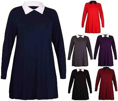 Womens New Plain Long Sleeve Ladies Stretch Collar Flared Swing Dress Plus Size