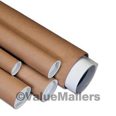 2 x 20 Kraft Mailing Shipping Packing Artwork Print Poster Tubes Mailers Round