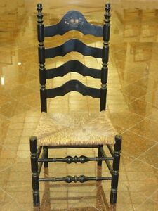 ANTIQUE-LANCASHIRE-CHESHIRE-STYLE-LADDER-BACK-CHAIR-w-STENCILED-BACK-amp-RUSH-SEAT