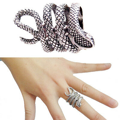 New Personality Gothic Punk Retro Silver Twisty Snake Finger Ring Serpent Ring