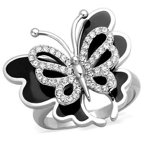 Butterfly Ring Crystal Black Silver Stainless Steel