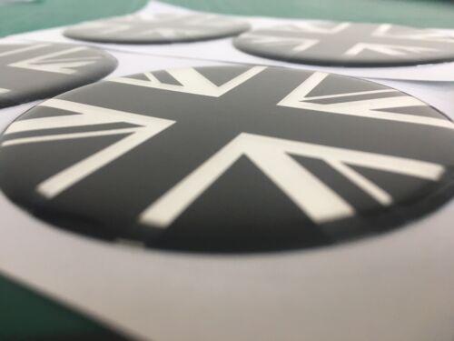 Union Jack lega ruota centro CAP ADESIVI A Cupola X4 MINI BM BLK C 55mm tutte le taglie