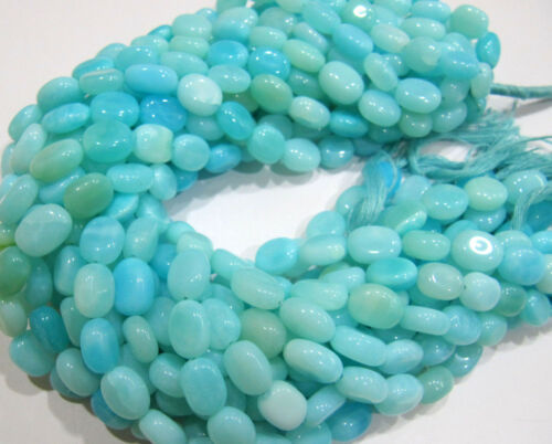 Natural Blue Peruvian Opal Oval Shape Plain Smooth Beads 9x12mm Strand 13 Inches