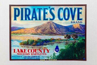 PEAR CRATE LABEL MAGIC LAKE COUNTY SACRAMENTO HERON 1950S VINTAGE ORIGINAL