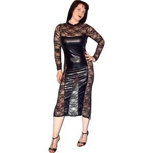 Sexy-Spitzen-Lack-Robe-de-Soiree-S-Striptease-Fete-Look-Mouille-Gothique-Stretch