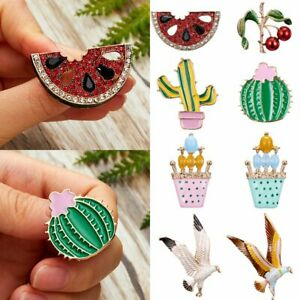 883cdca05 Image is loading Fashion-Crystal-Cactus-Owl-Watermelon-Brooch-Pin-Women-