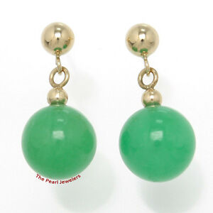 Details about  /14k Solid Yellow Gold Ball Drop//Dangle Green Jade Bead Stud Earrings TPJ