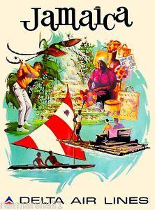 Jamaica Greater Antilles Caribbean Sea Delt Vintage Travel Advertisement Poster