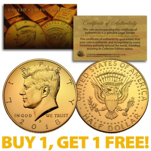 24K GOLD PLATED 2018-P JFK Kennedy Half Dollar Coin P Mint BUY 1 GET 1 FREE