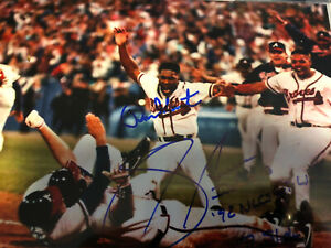 Sid Bream Ron Gant Dual Signed 8X10 Ins 1992 NLCS Gm7 Win The Slide Auto Braves