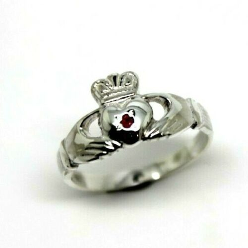 Size L STERLING SILVER RUBY CLADDAGH RING JULY BIRTHSTONE *Free express post