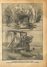 Red Cross Infirmières Nurses British Army Artillery Obus WWI 1918 ILLUSTRATION