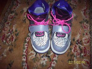 Air Jordan Flight Club Retro Jr. Girls US Size 5.5 Gray Black Purple ... 0e1da161c93a