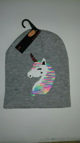 Girls Winter Unicorn Beanie Hat with Reversible Sequins
