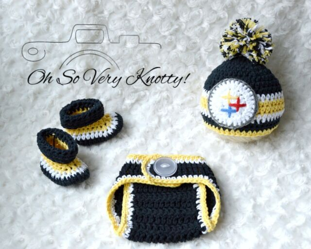 Pittsburgh Steelers Football Baby Crochet pom-pom hat d4c1d9f72