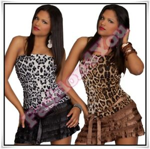 Sexy-Ladies-Bandeau-Leo-Mini-Dress-Women-039-s-Casual-Short-Dress-One-Size-6-8-10-UK
