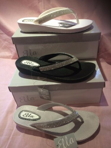 S1 LADIES SPARKLY  ELLA TOE POST SANDAL LOW WEDGE DIAMANTE FLIP FLOPS SUMMER SUN