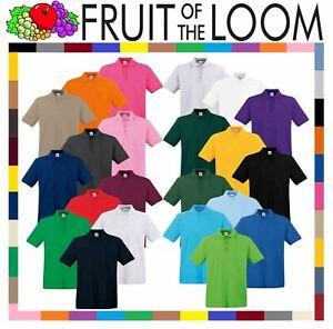 Mens-Polo-Shirts-Fruit-of-the-Loom-Premium-Polo-100-Cotton-Polo-Shirt-SS255
