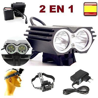 LINTERNA DE CABEZA Y BICICLETA RECARGABLE 8000LM 2x T6 LED LAMPARA FRONTAL