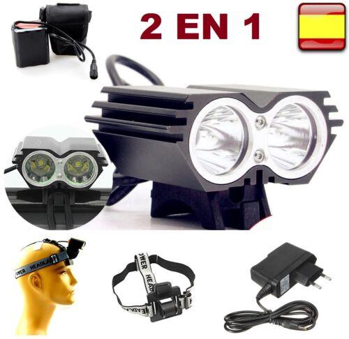 Linterna frontal y de bicicleta recargable 8000LM 2x T6 LED lampara 2 EN 1