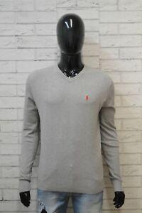 RALPH-LAUREN-Uomo-L-Maglione-Grigio-Felpa-Sweater-Man-Cardigan-Pullover-Cashmere