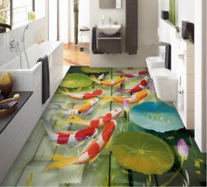 3D Koi Water Lotus 744 Floor WallPaper Murals Wall Print Decal AJ WALLPAPER US