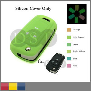 Night Glow Silicone Cover fit for Chevrolet Flip Remote Key Case 3BTN 6C Neon LG