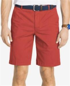 IZOD-SALTWATER-STRETCH-FLAT-FRONT-CHINO-SHORTS-RED-MENS-32-NEW