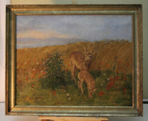 Oil-Painting-Hunting-Painting-Deer-Antique