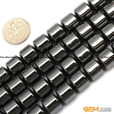 "Natural Column Black Hematite Beads Jewelry Making loose gemstone beads 15"""