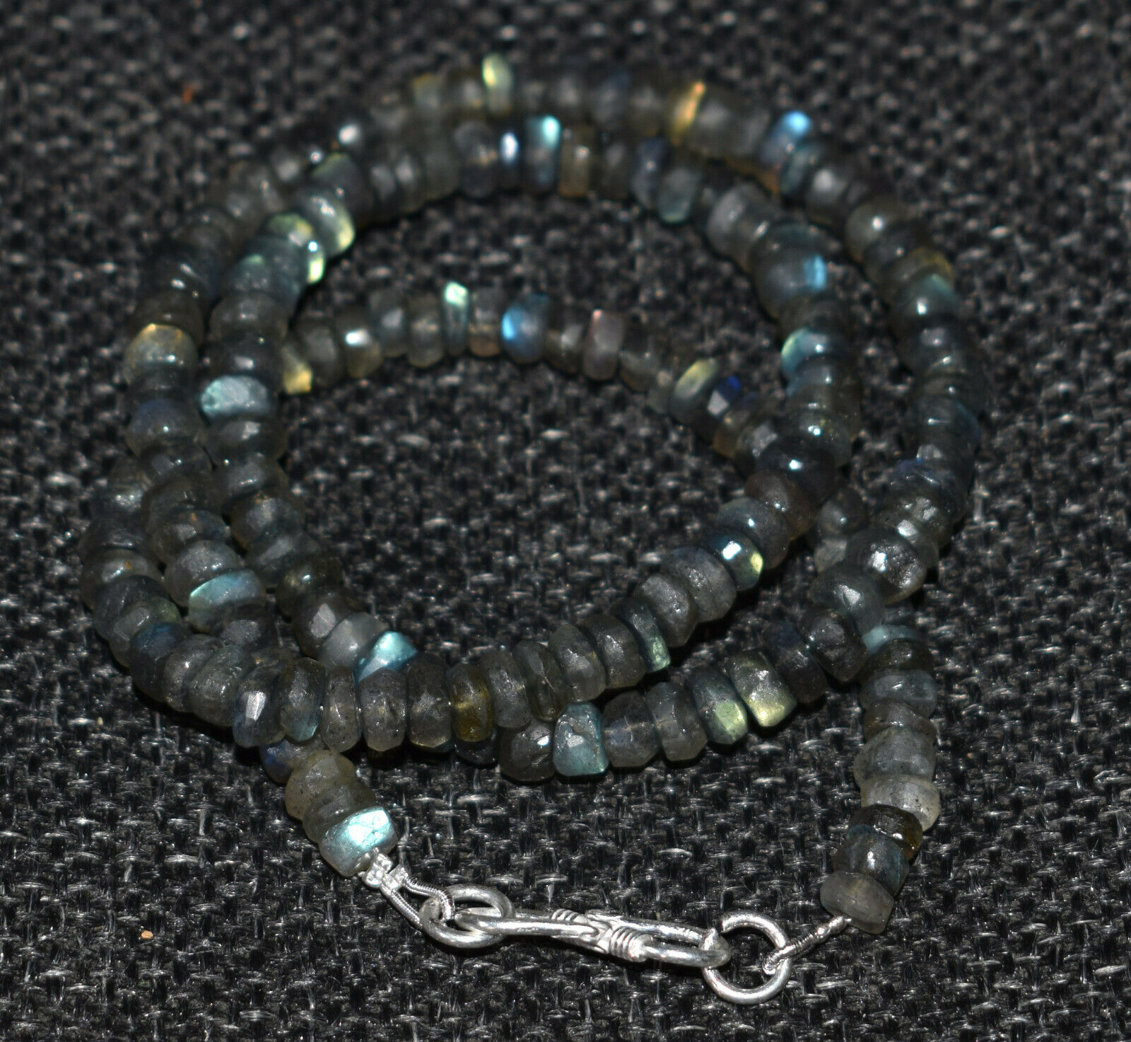 925 Sterling Silver Blue Labradorite Gemstone Round Faceted Beads Necklace VF-45