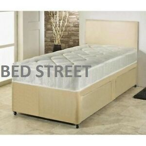 3ft single cream faux leather divan bed quilted mattress for 3ft divan bed with storage