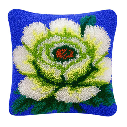 Knüpfkissen grüne Blume Knüpfpackung zum Selbstknüpfen eines Kissens